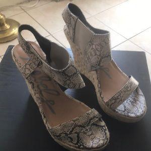 Faux snake skin wedge sandals